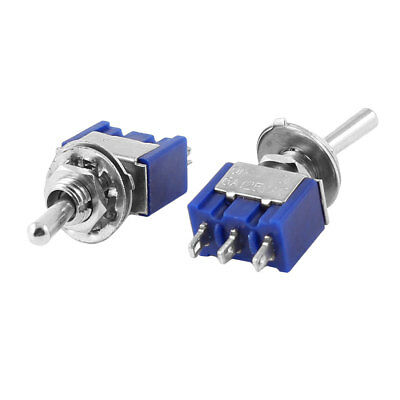 2 Pcs MTS-102 AC 125V 6A SPDT On/Off/On 3P Toggle Switch Blue