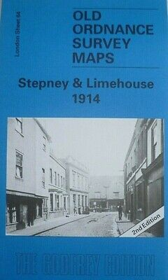 Old Ordnance Survey Detailed Maps Stepney & Limehouse London 1914 Godfrey Edit
