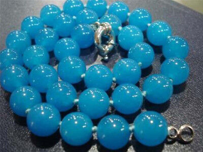 A+++ New 8mm Brazilian Aquamarine Beads Necklace 18''