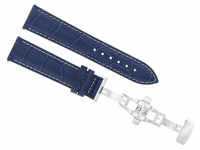 24Mm Leather Watch Band Strap Deployment Clasp For Pam 44Mm Panerai Blue Ws 3B