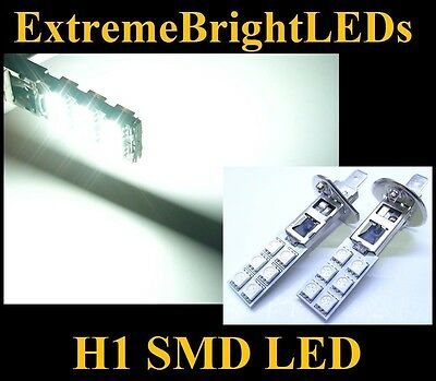 TWO Xenon HID WHITE H1 12-SMD LED Driving or Fog Lights bulbs
