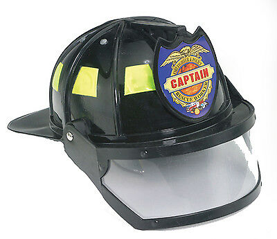 Fireman Captain Hat w Shield Adjustable, Adult Unisex, Plastic  20761