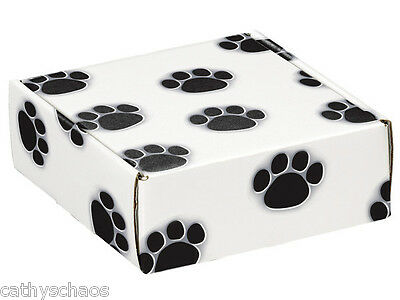 6 Dog Paw Print Cat Black Paws Shipping Mail Lock Box Gift Presentation Boxes