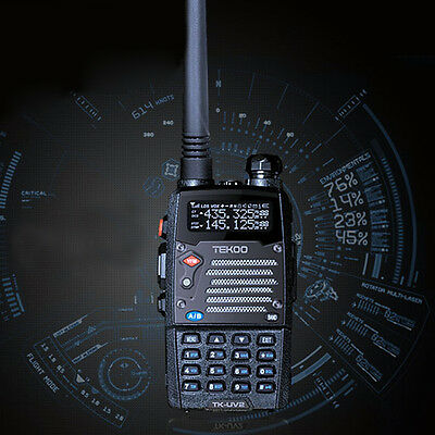 Rechargeable LCD Walkie Talkies 2-Band 8W VHF UHF FM Transceiver LED FlashLight