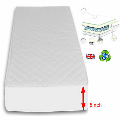 New 4Baby Hypoallergenic Quilted Spot Sprung Cot Bed Junior Toddler Bed Mattress