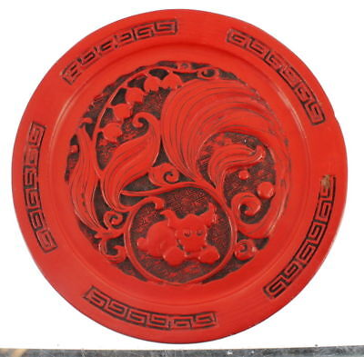 Vintage Semi Antique Chinese Cinnabar Small Plate Dog Lily Of The Valley Flowers