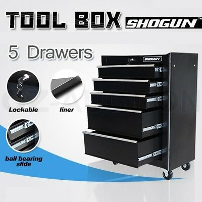 5 Drawer Mechanic Tool Box Chest Cabinet Toolbox Roller Cabinet - Black
