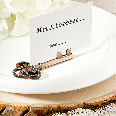50  Vintage inspired place card/photo holders wedding favors skeleton key