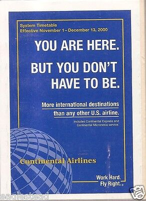 Airline Timetable - Continental - 01/11/00 - S