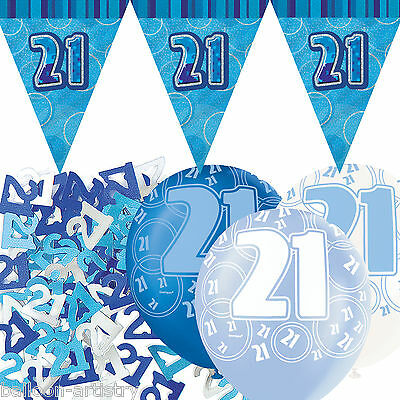 Blue Silver Glitz 21st Birthday Flag Banner Party Decoration Pack Kit Set
