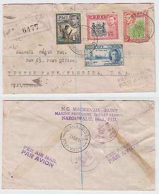 C4146: Fiji #124;127;128;138 on 1947 Registered Cover
