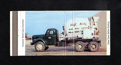 Full Length CONCRETE Cement MACK Truck GOFF KIRBY Vintage Photo Matchbook OHIO