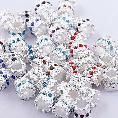 Wholesale Crystal Rhinestone Tube Spacer Charm Bead For European Bracelets