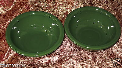 Henn Pottery Emerald Green Jewelware Soup Salad Side Cereal Bowls 2 New Usa Made