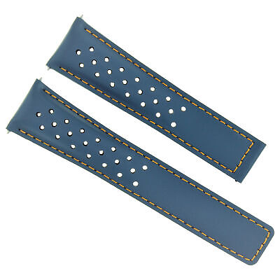 Leather Strap Band Smooth Clasp 19Mm For Tag Heuer Carrera Blue Os Perforated