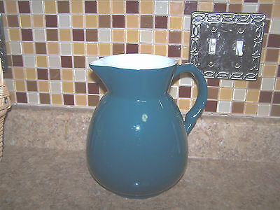 Vintage Shenango China USA Green with White on the Inside Large Water Pitcher