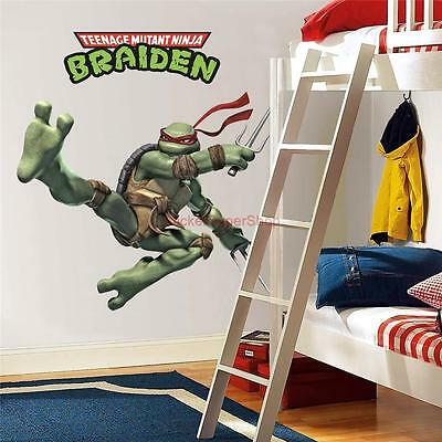 PERSONALIZED RAPHAEL Ninja Turtles Decal Removable WALL STICKER FREE SHIPPING