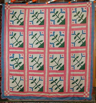 "GORGEOUS Vintage 30's ""Regal Lily"" Applique Antique Quilt ~GREAT COLORS!"