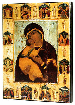BIG RUSSIAN ORTHODOX ICON – VLADIMIR MOTHER OF GOD (with scenes). XV th century.