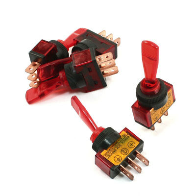 5 Pcs Red Light Pilot Lamp SPST ON/OFF 2 Position 3P Car Toggle Switch DC 12V 20