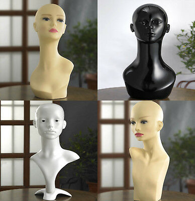 Professional Female Mannequin Head High Quality Display Wigs Gloss White Head
