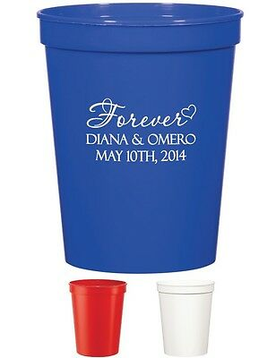 50 PERSONALIZED Stadium Cups Wedding Favors Party Bridal Shower Custom Cups