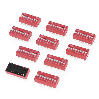 10 Pcs 2.54mm Pin 2 x 8 Pins 8 Position Slide Style DIP Switches Red