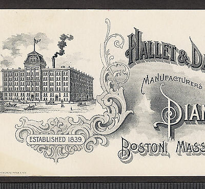 Antique Hallet & Davis Piano Boston Factory View Engraved Advertising Trade Card