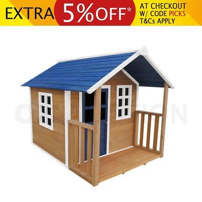 Kids Outdoor Wooden Timber Playhouse Cubby House Pretend Play + Windows Verandah