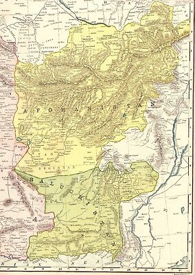 RARE Antique PERSIA and AFGHANISTAN Map  c1920 RARE SIZE Vintage Map BEAUTIFUL