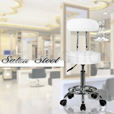 Adjustable White Salon Stool Barber Office Bar Backrest Chair Tattoo Equipment
