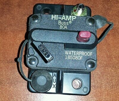 80 Amp HI-AMP BUSSMANN  BUSS CIRCUIT BREAKER 185080F Manual Reset waterproof NEW