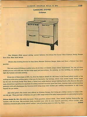 1940 AD 5 PG Coleman Gas Gasoline Instant Lighting Stove Oven Cabin Trailer Camp