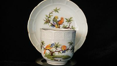 Rare antique early 19th Ludwigsburg porcelin cup & saucer hand painted - parrots