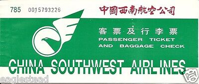 Airline Ticket - China Southwest - 1 Flight - 1996 (T253)