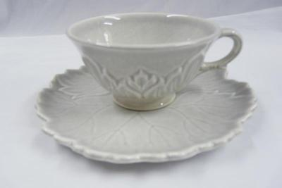 STEUBENVILLE CHINA WOODFIELD PATTERN GRAY CUP AND SAUCER
