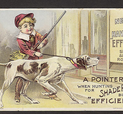 1893 - Antique - Pointer Hunting Dog Hunter Spring Shade Roller Advertising Card
