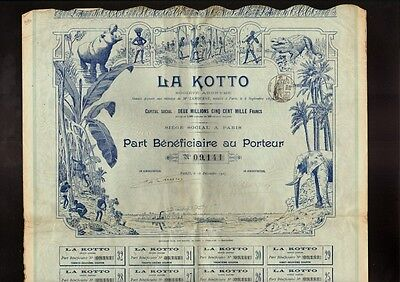 LA KOTTO AFRICA SCENE Hippo Crocodile Elephant Vign dd 1907 Paris ** TOP DECO **