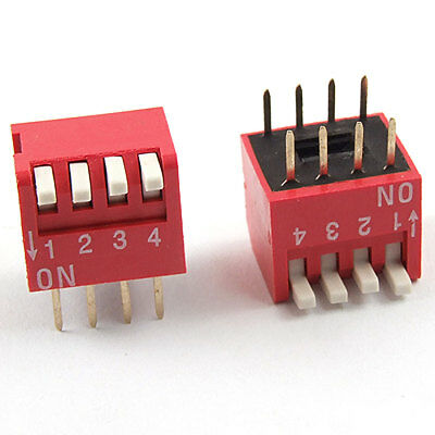 5 Pcs 2.54mm Pitch 4 Position Piano Type DIP Switch Red