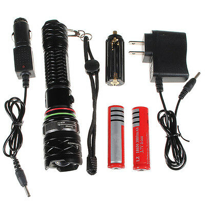 2500LM CREE XM-L T6 LED Rechargeable Zoom Flashlight Torch 18650 Battery Charger