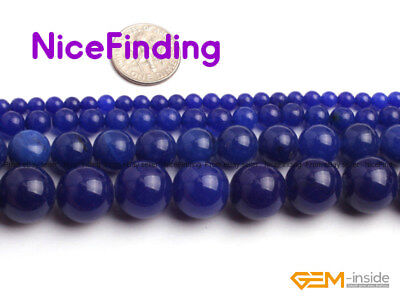 """Blue Jade Round Gemstone Beads For Jewellery Making Loose Beads Lots Strand 15"""""""