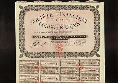 AFRICA   Soc. Financiere du Congo Francais 1929  Paris France