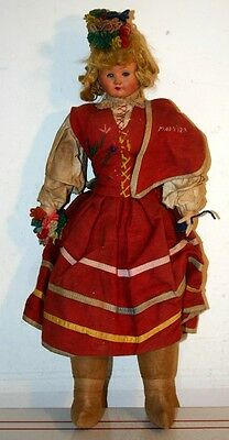 Vintage Cloth and Celluloid Antique Doll - In Costume of The Island of Madeira