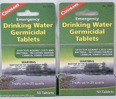 2 Packs Of Water Purification Tablets-Drinkable Water In 30 Minutes! 50 Tabs/Ea