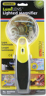 "Lighted Magnifer Glass LED ""LUMILENS"" General Tool #800543 3x-6X Magnification"