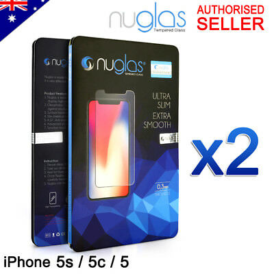 2 X Genuine Nuglas Tempered Glass Screen Protector for Apple iPhone 5S 5C 5 SE