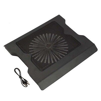 """New 2 USB Port Cooling Cooler 0ne Fan Pad Stand for 16"""" Laptop PC With LED Light"""