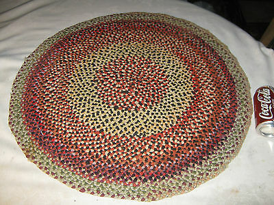 Antique Country Farm Home Table Braided Hand Mat Primitive Stitched Rug Carpet
