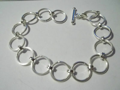 """8"""" Large 13mm (1/2"""") Round Link 14g Sterling Silver Charm Bracelet Toggle Clasp"""