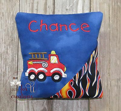 Boy's Personalized Fire Truck Embroidered Design Tooth Fairy Pillow